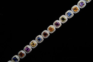 From our bracelets collection: 18Kt Yellow Gold Diamond Bracelet containing 24.65Cts of Sapphires and 4.95Cts of Diamonds. MKL 3044